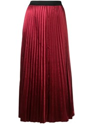 Dkny Pleated Maxi Skirt Red