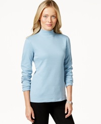 Charter Club Long Sleeve Mock Turtleneck Only At Macy's Cloudy Blue