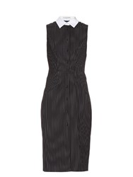 Altuzarra Bateman Pinstriped Sleeveless Stretch Wool Dress Navy Stripe