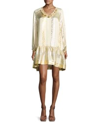 Rachel Zoe Roe Metallic Jacquard Shift Dress Gold Silver Multi Pattern