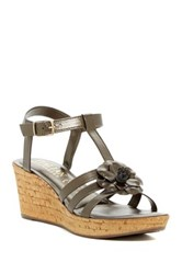 Italian Shoemakers Strappy Floral Wedge Sandal Brown