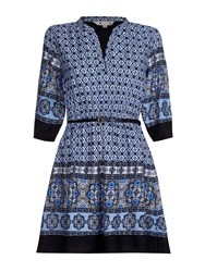 Yumi Tunic Belt Dress With Boho Print Black