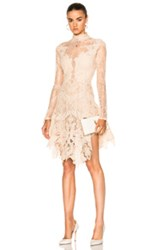 Jonathan Simkhai Multimedia Corded Long Sleeve Lace Dress In Neutrals Pink Neutrals Pink