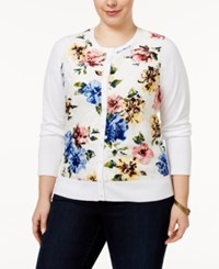 Charter Club Plus Size Floral Print Lace Cardigan Only At Macy's Bright White Combo