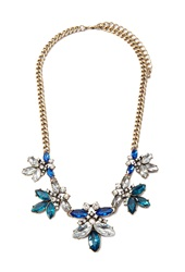 Forever 21 Rhinestone Curb Chain Necklace Antic Gold Blue