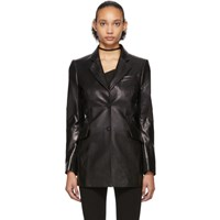 Yang Li Black Patent Faux Leather Cut Out Blazer
