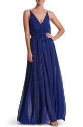 Dress The Population Women's Lana Chiffon Gown Cobalt