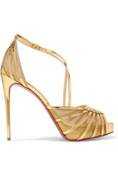 Christian Louboutin Filamenta 120 Metallic Leather And Mesh Sandals Gold