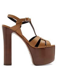 Saint Laurent Betty Leather Platform Sandals Tan Multi