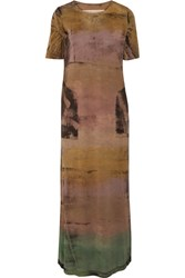 Raquel Allegra Tie Dyed Stretch Cotton Jersey Maxi Dress Brown
