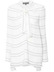Proenza Schouler Tied Neck Striped Blouse White