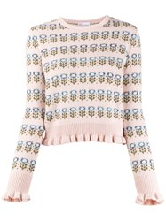 'Red Valentino' Floral Knitted Jumper Pink