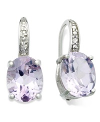Victoria Townsend Sterling Silver Earrings Amethyst 4 3 4 Ct. T.W. And Diamond Accent Oval Leverback Earrings