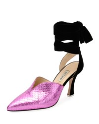 Attico Olivia Snakeskin Point Toe Ankle Wrap Pump Pink