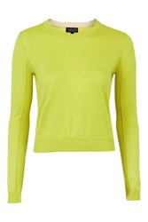 Topshop Fine Knit Boxy Crew Chartreuse