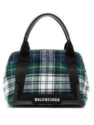 Balenciaga Cabas S Plaid Bag Green Multi