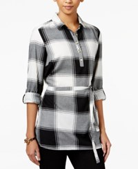 Tommy Hilfiger Plaid Belted Tunic Only At Macy's Deep Black