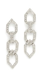 Kenneth Jay Lane Open Link Drop Earrings Rhodium Rhinestone Crystal