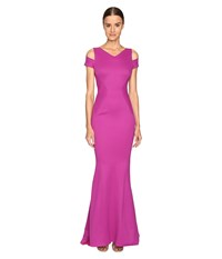 Zac Posen Bondage Jersey Cold Shoulder Gown Magenta Women's Dress Pink