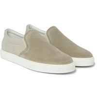 Brunello Cucinelli Suede And Canvas Slip On Sneakers Tan