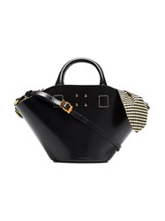 Trademark Black Small Leather Bag With Gingham Insert
