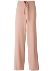 Theory Drawstring Straight Trousers Pink Purple