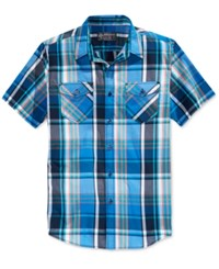 American Rag Men's Dual Pocket Plaid Short Sleeve Shirt Only At Macy's Blue Cool Aid