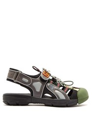 Gucci Crystal Embellished Cut Out Panel Leather Sandals Black Green