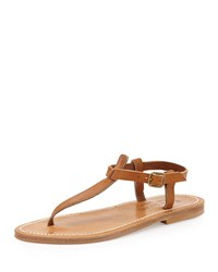 K. Jacques Leather T Strap Flat Sandal Neutral