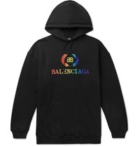 Balenciaga Oversized Logo Embroidered Loopback Cotton Jersey Hoodie Black