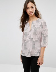 Soaked In Luxury 3 4 Sleeve Patterned Top 926 Pattern Multi