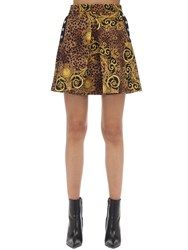 Versace Archive Print Pleated Mini Skirt Gold