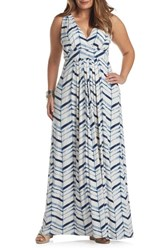 Tart Plus Size Women's Chloe Empire Waist Maxi Dress Watercolor Chevron