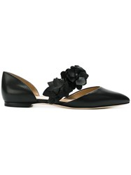 Tory Burch Floral Strap Ballerina Shoes Women Leather 9 Black