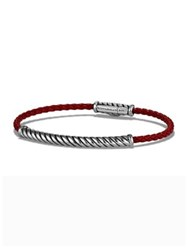 David Yurman Woven Rubber And Sterling Silver Bracelet Red Black Blue
