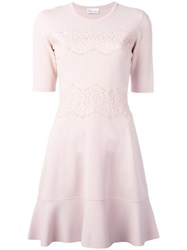 Red Valentino Lace Overlay Skater Dress Pink Purple