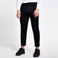 River Island Black Single Pleat Tapered Fit Trousers