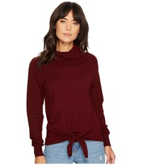 Bishop Young Front Tie Turtleneck Top Burgundy Women's Clothing