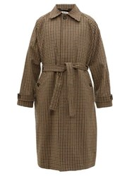 Acne Studios Oles Belted Checked Wool Blend Overcoat Beige Multi