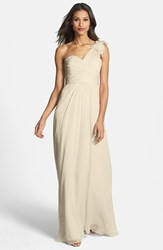 Women's Amsale Illusion Shoulder Crinkled Silk Chiffon Dress Champagne