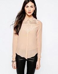 Aryn K Silk Blouse With Yoke Detail Nude