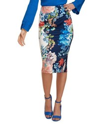 5Twelve Floral Print Scuba Pencil Skirt Blue Pattern