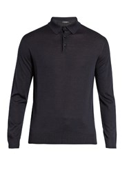 Ermenegildo Zegna Long Sleeved Wool Polo Shirt Navy