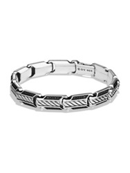 David Yurman Cable Collection Black Diamond And Sterling Silver Bracelet