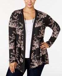 Belldini Plus Size Jacquard Knit Floral Cardigan Charcoal Blush