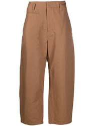 Christophe Lemaire High Waisted Trousers Brown