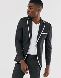 Jack And Jones Premium Skinny Fit Tipped Suit Jacket In Grey