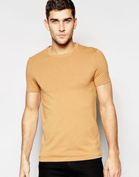 Asos Muscle T Shirt With Crew Neck In Camel Indian Tan