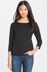 Eileen Fisher Women's Ballet Neck Three Quarter Sleeve Top Black