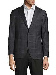 Saks Fifth Avenue Made In Italy Classic Fit Plaid Wool Jacket Grey